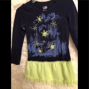 Justice icicles Dark blue and lime dress